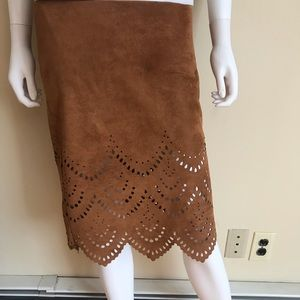 Anthropologie Le Lis suede eyelit lace skirt